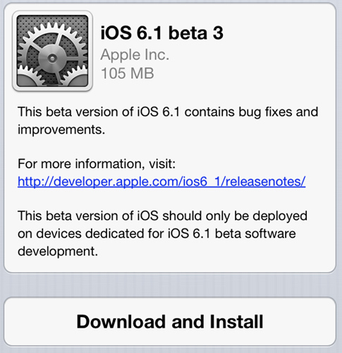 iOS 6.1 Beta 3 out for developers