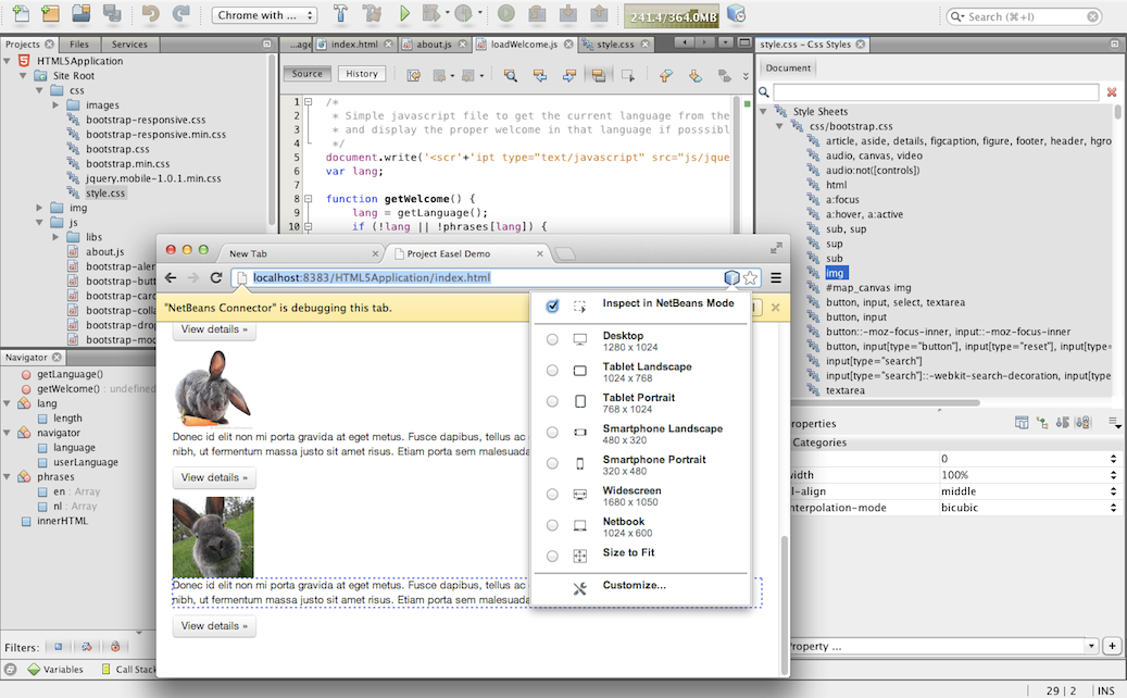 Oracle Releases NetBeans IDE 7.4 for HTML5 and JavaScript Enterprise Mobile Web Development