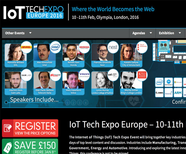 IoT Tech Expo Europe 2016 Will Be Held In London February 10 and 11