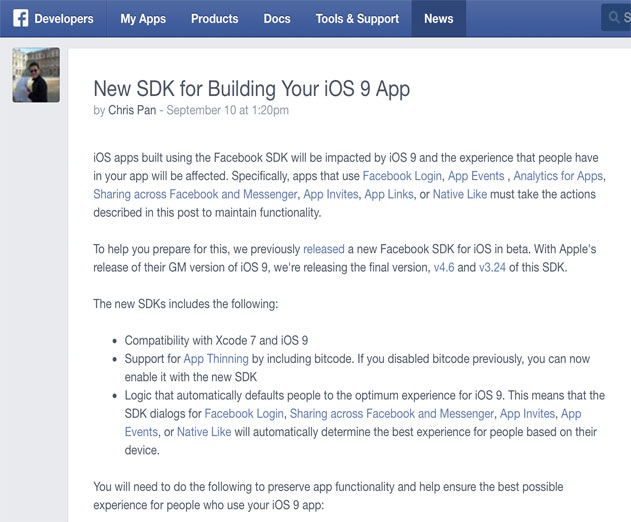 Making Sure the Facebook SDK Works with iOS 9