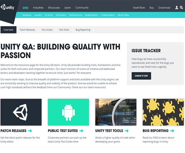 Unity Creates QA Mini Site for Test Tools, Test Suites and Patch Releases