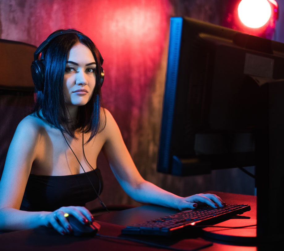 Professional Gamer Girl Playing in First Person Shooter Online Video Game App Developer Magazine