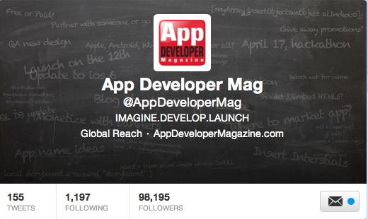 App Developer Magazine hits 100k Twitter followers