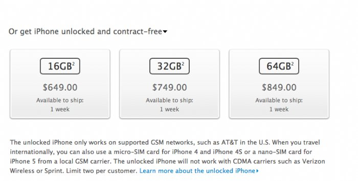 Unlocked iphone 5s for sale in the US Apple store