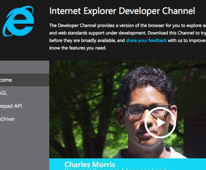 Microsoft Releases Internet Explorer Developer Channel at devchannel.modern.IE