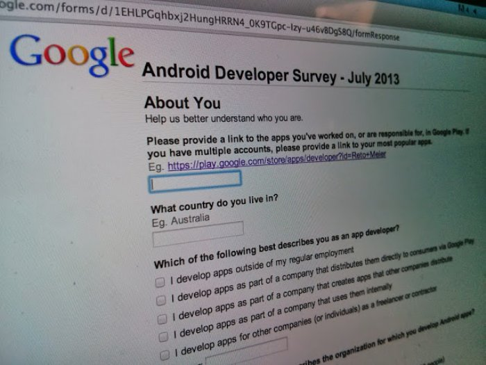 Mid Year 2013 Android Developer Survey is Now Open