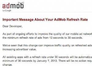Admob changes minimum refresh rate